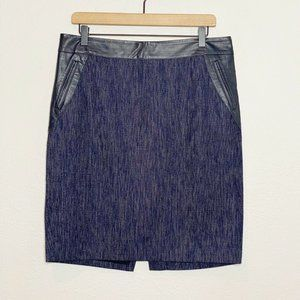 Ann Taylor Blue Black Textured Faux Leather Skirt
